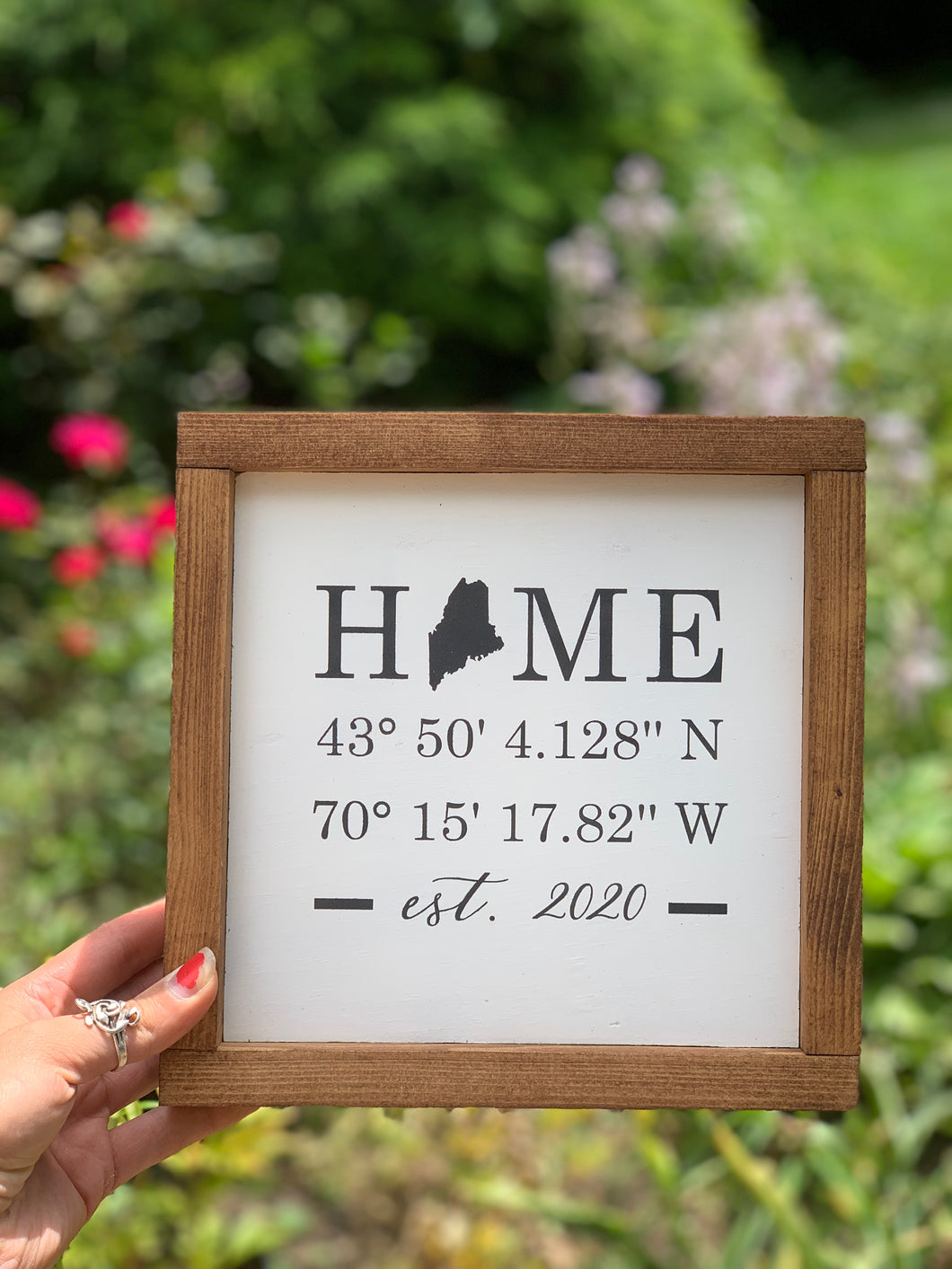 Home Coordinates Framed Sign