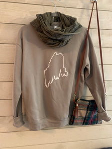 Maine Pine Tree Coast Line Crewneck