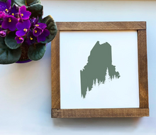 Load image into Gallery viewer, Maine Pine Tree Coast Framed Sign