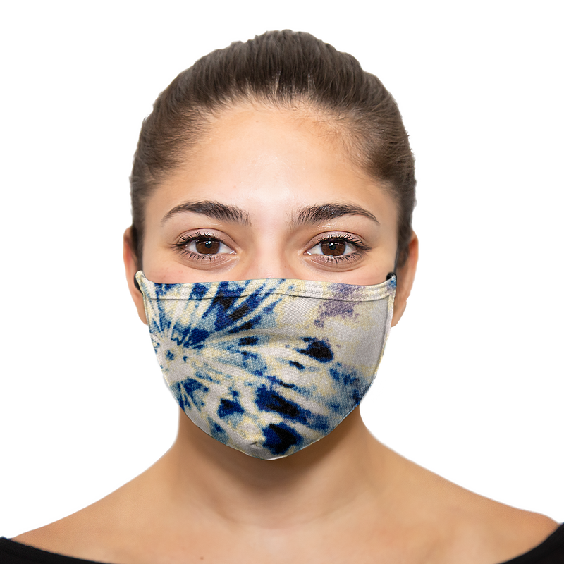 Tie Dye - Blue Yellow - Printed Reusable Mask - Wholesale