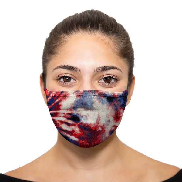 Tie Dye - Red White Blue - Printed Reusable Mask - Wholesale