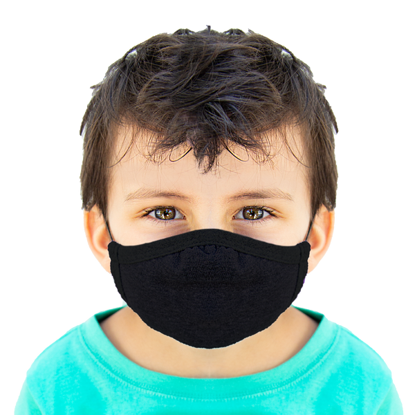 Black - Kids Cloth Mask - Wholesale