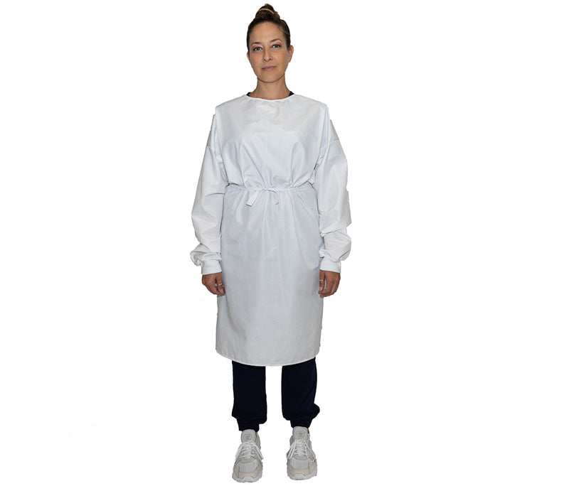 Level 2 Ribbed Cuff Reusable Isolation Gown - White - S/M - Wholesale