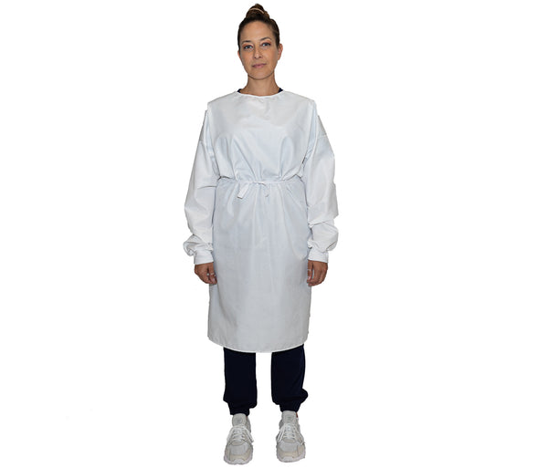 Level 2 Ribbed Cuff Reusable Isolation Gown - White - L/XL - Wholesale