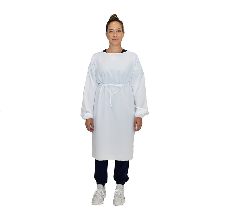 Level 1 Reusable Isolation Gown - White - L/XL - Wholesale
