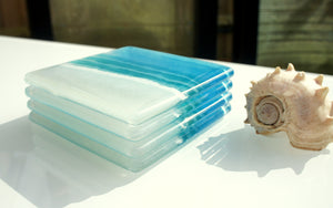 beach glass tableware coasters turquoise blue