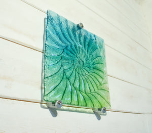 ammonite fossil glass relief wall art teal turquoise