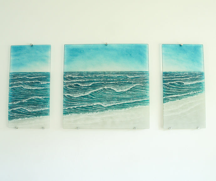 large triptych wave relief art glass wall art