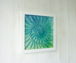 Ammonite Glass Frame wall art nautilus fossil relief glass art