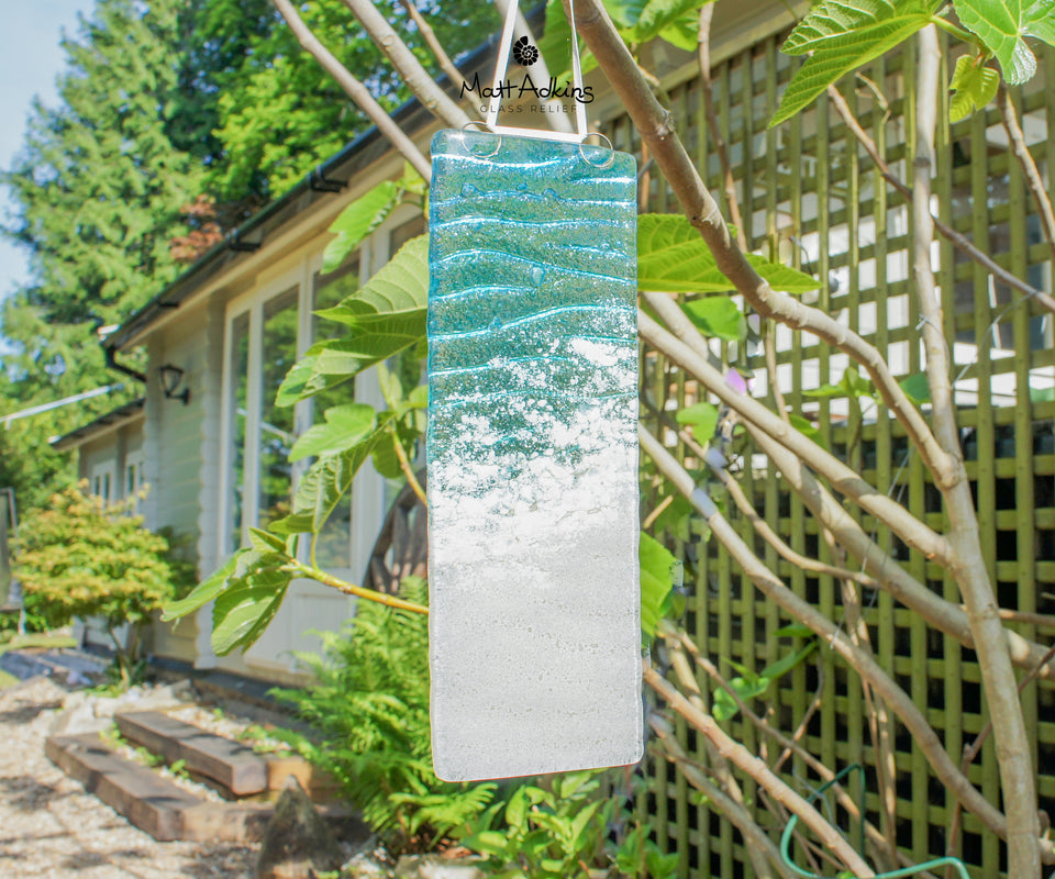 beach foam seabed sea glass suncatcher
