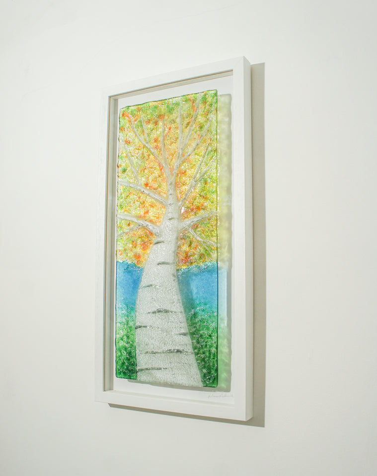 Birch Tree frame glass art
