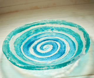 turquoise blue fused glass fruit bowl matt adkins relief glass art