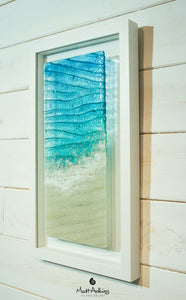 seabed beach foam relief glass frame wall art