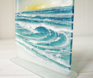Rolling Wave Freestanding Relief Art Glass