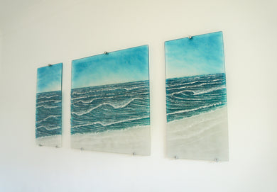 large wall wave glass wall art triptych