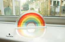 "Load image into Gallery viewer, 3 Rainbow Suncatchers - Freestanding - 19x10cm (7 1/2x4"")"