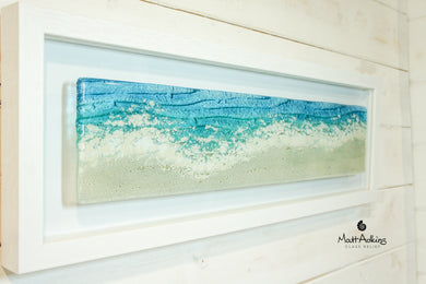 large panoramic wall art, large glass sea wall art, panoramic beach wall art, fused glass panoramic frame wall art