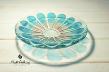 Load image into Gallery viewer, daisy flower glass bowl purple blue