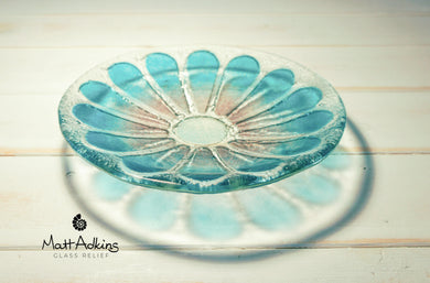 daisy flower glass bowl purple blue