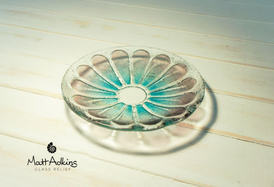 purple blue daisy flower glass bowl
