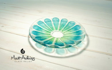 flower daisy glass bowl green blue