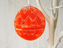 "Load image into Gallery viewer, Norwegian Red Glass  Bauble - 12cm(5"") - with an organza bag"