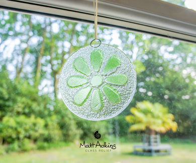 lime green daisy flower glass suncatcher