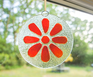 red scarlet hanging fused glass window decoration