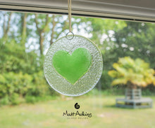 Load image into Gallery viewer, lime green love heart hanging glass suncatcher