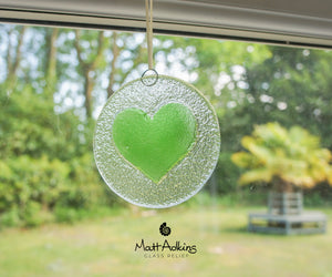 lime green love heart hanging glass suncatcher