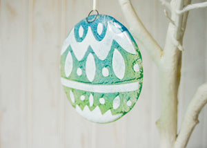 "Norwegian Turquoise/Blue Glass  Bauble - 12cm(5"") - with an organza bag"