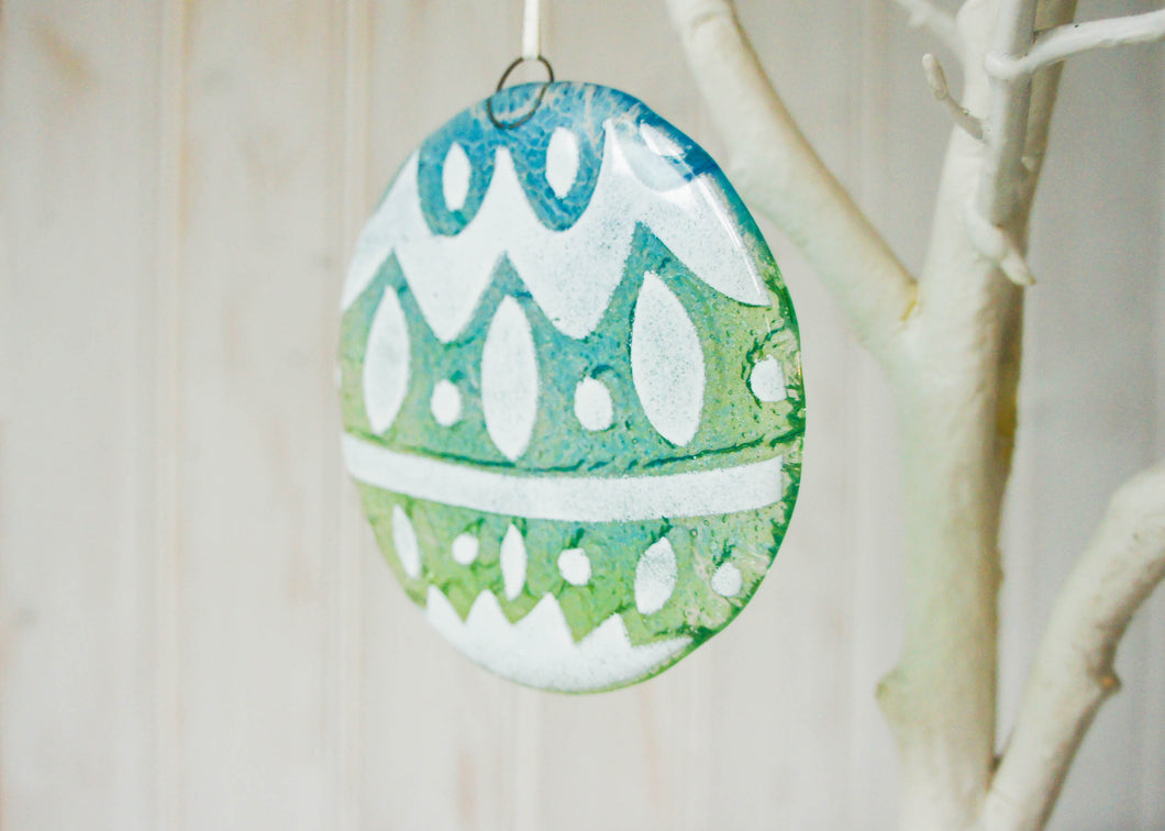 Norwegian Turquoise/Blue Glass  Bauble - 12cm(5