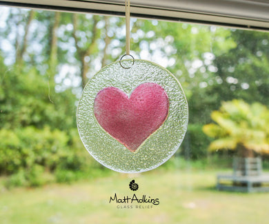 pink love heart glass suncatcher