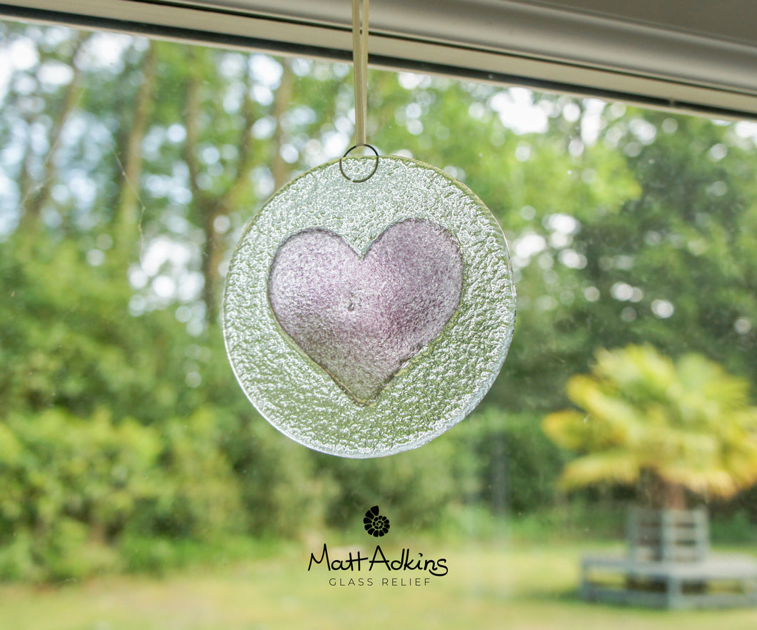 purple lilac love heart glass suncatcher