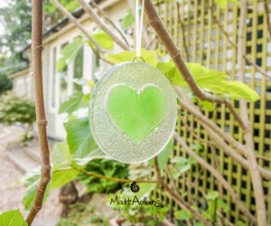 "Lime Green Heart Suncatcher - 12cm(5"")"