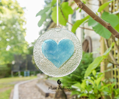 love heart art glass, heart glass suncatcher