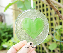 "Load image into Gallery viewer, Lime Green Heart Suncatcher - 12cm(5"")"