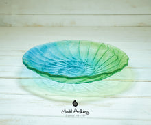 "Load image into Gallery viewer, Ammonite Bowl - Lime Green, Blue Turquoise - 29cm(12"")"