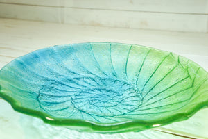 "Ammonite Bowl - Lime Green, Blue Turquoise - 29cm(12"")"