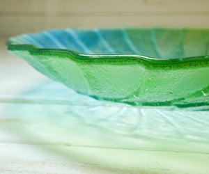 fossil lime green glass table decor