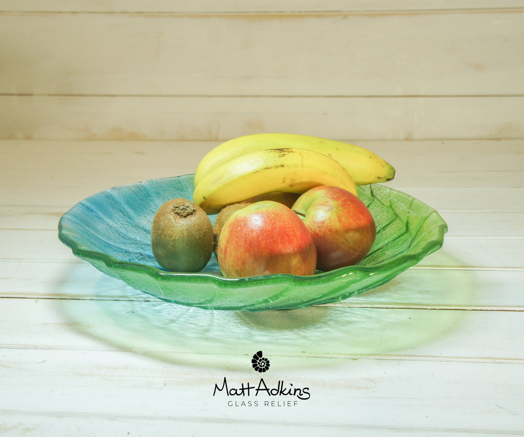 lime green glass fruit bowl