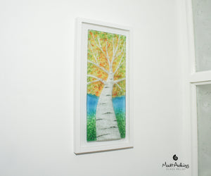 birch tree glass wall art picture frame