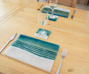 set of glass beach placemat and coaster sea beach tableware