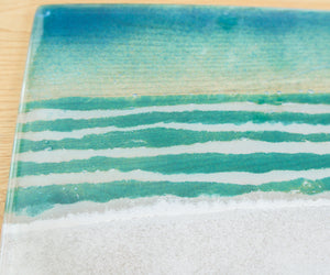 "Set of 1 Beach Placemat 30x20cm(11 3/4 x 8 1/4"") + 1 Beach Coaster 10cm(4"")"