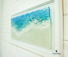 Load image into Gallery viewer, beach foam sea glass art frame wall art