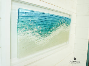relief sea beach wave glass art