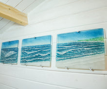 "Load image into Gallery viewer, Small Triptych Coastal Wave Wall Panels - Left&Right 40x30cm (16x12"")/Middle 43x30cm (17x12"") with 9 fixings"