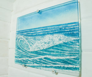 "Small Triptych Coastal Wave Wall Panels - Left&Right 40x30cm (16x12"")/Middle 43x30cm (17x12"") with 9 fixings"