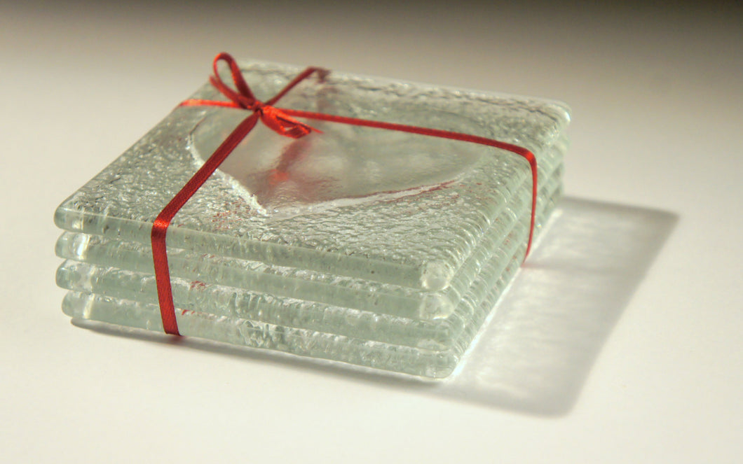 6 Clear Heart Coasters