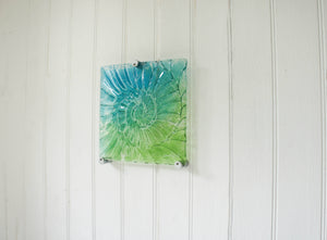 "Ammonite Wall Panel - Small Square - Turquoise Blue Green - 22cm(9"") with fixings"